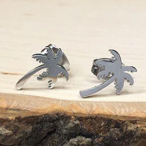 Jewelry - Minimalist Silver Palm Tree Earrings